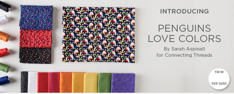 Penguins Love Color Quilting Fabric Collection