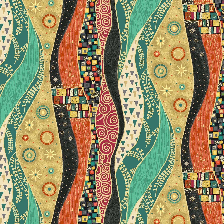 Multiple Size Rhapsody Metallic Wavy Stripe Orange Cotton Makower Fabric