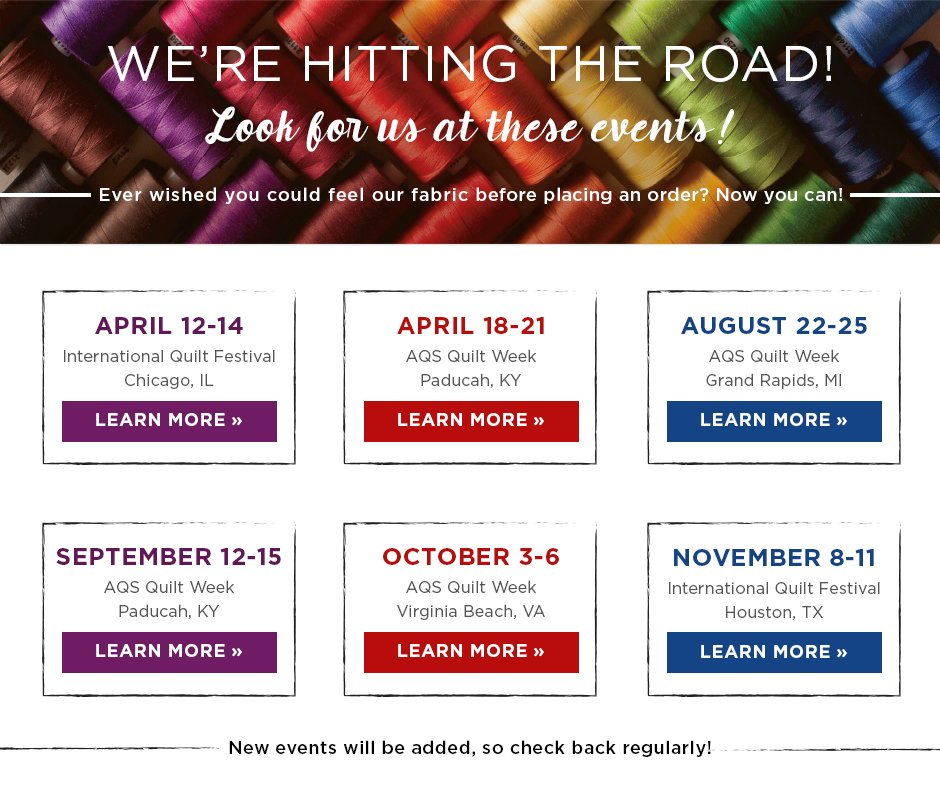 Upcoming Quilting Shows - Connecting Threads