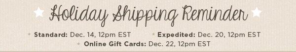 Holiday Shipping Reminder