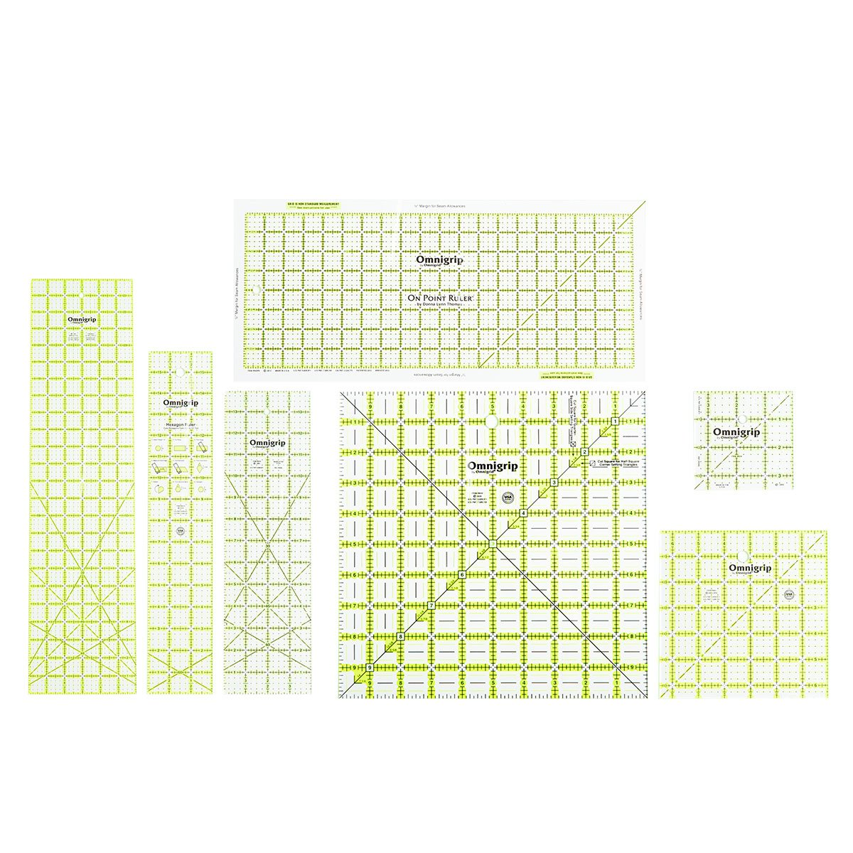 Omnigrid Omnigrip Neon green 12 1//2 inch x 12 1//2 inch Square Ruler for Quilting