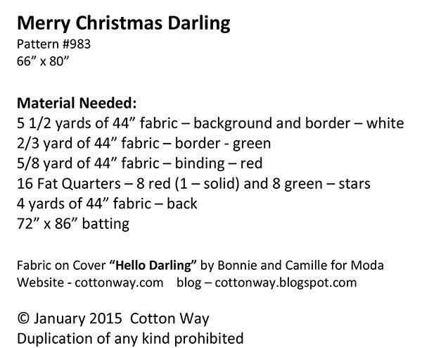 Merry Christmas Darling.Merry Christmas Darling Quilt Pattern Download