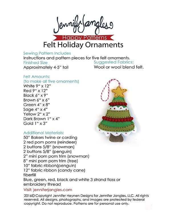 Felt Holiday Ornaments Pattern Download Connectingthreads Com