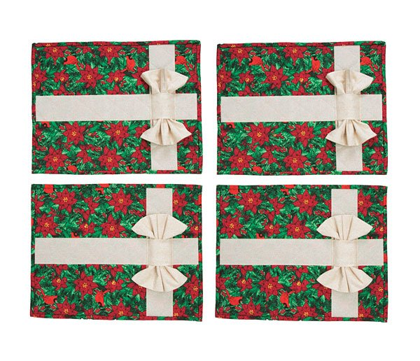 quilt kits presently wrapped christmas placemats and napkins poinsettia kit - Christmas Placemats And Napkins