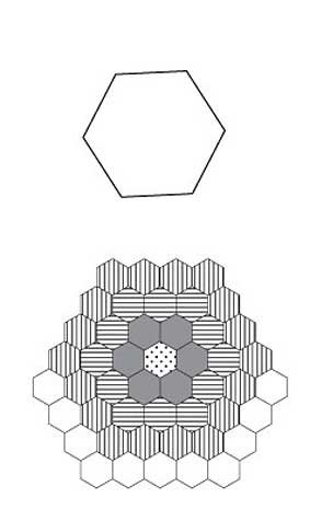 English Paper Piecing 1 Inch Hex Triple Ring Flower Pattern